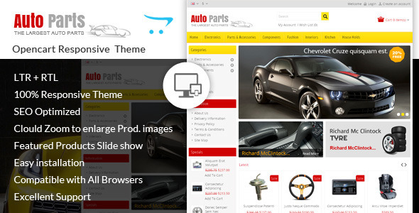 Auto Parts - Tools Opencart Theme